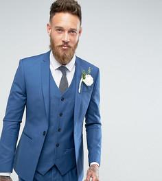 Синий приталенный пиджак с ровным краем Noak Wedding - Синий