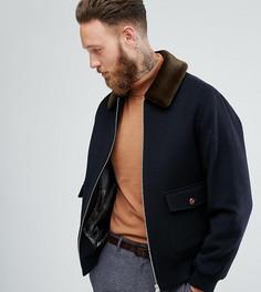 Куртка из смешанной шерсти с воротником из искусственного меха Heart & Dagger - Темно-синий