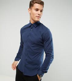 Приталенная трикотажная рубашка Noak - Темно-синий