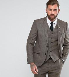 Твидовый пиджак приталенного кроя с узором в елочку Heart & Dagger - Коричневый