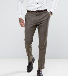 Узкие твидовые брюки с узором в елочку Heart & Dagger - Коричневый