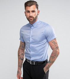 Зауженная рубашка с короткими рукавами и воротником на пуговицах Heart & Dagger - Синий