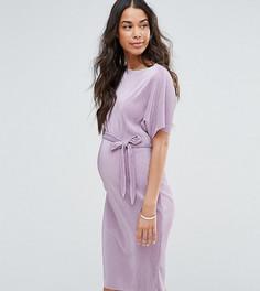 Плиссированное платье миди с ремнем New Look Maternity - Фиолетовый