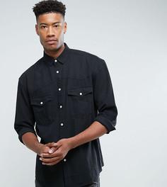 Черная свободная джинсовая рубашка в стиле вестерн ASOS TALL - Черный