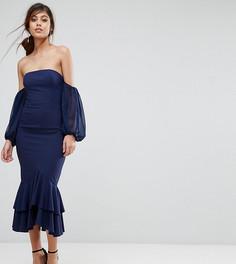 Платье миди с открытыми плечами и оборкой Jarlo - Темно-синий