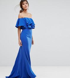 Платье макси с открытыми плечами и рюшами Jarlo - Синий