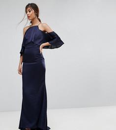 Платье макси с открытыми плечами и годе Jarlo - Темно-синий