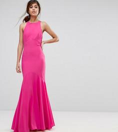 Платье макси с бантом на спине и подолом годе Jarlo - Розовый