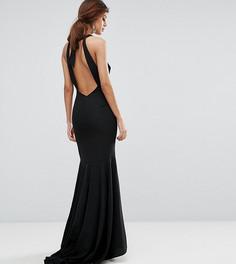 Платье макси с бантом на спине и подолом годе Jarlo - Черный