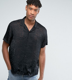 Оверсайз-рубашка из вискозы с отложным воротником и леопардовым принтом ASOS TALL - Черный