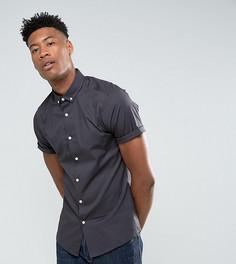Темно-серая облегающая футболка с короткими рукавами и воротником на пуговицах ASOS TALL - Серый