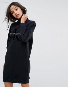 Платье с воротником поло и логотипом Calvin Klein Jeans - Черный