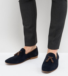 Темно-синие замшевые лоферы для широкой стопы с кисточками ASOS - Темно-синий