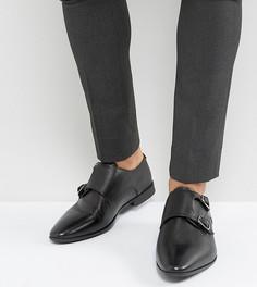 Черные кожаные монки для широкой стопы с тиснением ASOS - Черный