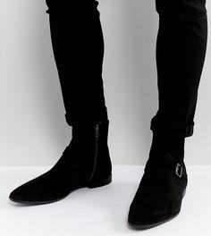 Черные замшевые ботинки челси для широкой стопы с ремешками и пряжками ASOS - Черный
