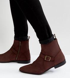 Бордовые замшевые ботинки челси для широкой стопы с пряжкой и молнией ASOS - Красный