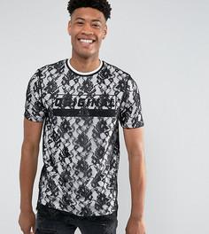 Длинная двухслойная футболка с кружевом и текстовым принтом ASOS TALL - Черный