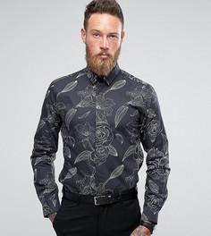 Строгая рубашка с цветочным принтом Noose & Monkey - Черный