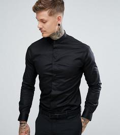 Строгая приталенная рубашка с воротником на пуговице Noose & Monkey - Черный