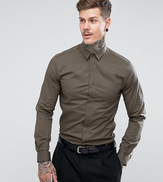 Строгая приталенная рубашка с остроконечным воротником Noose & Monkey - Зеленый