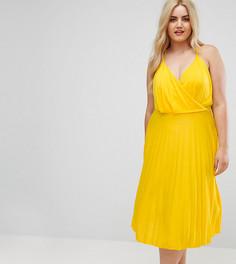 Платье миди с запахом и юбкой плиссе ASOS CURVE - Желтый