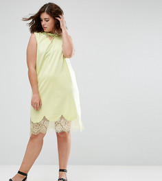 Платье-футболка без рукавов с кружевными вставками ASOS CURVE - Желтый