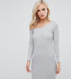 Облегающее платье в рубчик на одно плечо с длинным рукавом ASOS PETITE - Серый
