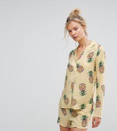 Пижамный комплект с шортами с принтом ананасов ASOS TALL - Мульти
