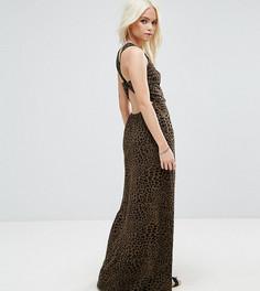 Платье макси с леопардовым принтом и перекрученной отделкой на спине ASOS PETITE - Зеленый