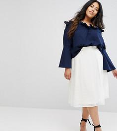 Полупрозрачная юбка-трапеция Little Mistress PLUS - Белый