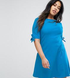 Короткое приталенное платье с бантами на рукавах ASOS CURVE - Синий