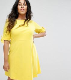 Короткое приталенное платье с бантами на рукавах ASOS CURVE - Желтый