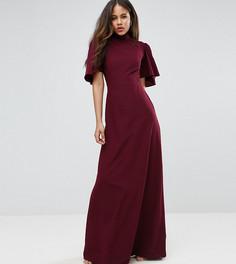 Платье макси с воротником-стойкой и расклешенными рукавами ASOS TALL - Красный