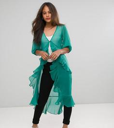 Шифоновая блузка макси с оборками ASOS TALL Ultimate - Зеленый