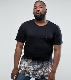 Длинная футболка с цветами, черепами и эффектом деграде Religion PLUS - Черный