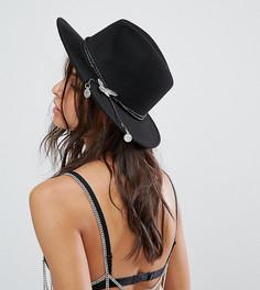 Мягкая фетровая шляпа с орлом Sacred Hawk - Черный