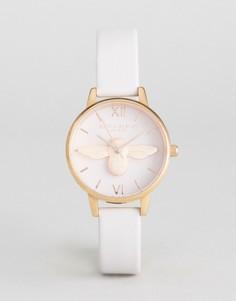 Часы со светло-розовым кожаным ремешком и пчелой Olivia Burton OB16AM85 - Розовый