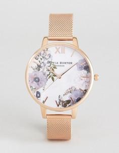 Золотистые часы с браслетом и мраморным циферблатом Olivia Burton OB16MF06 - Золотой