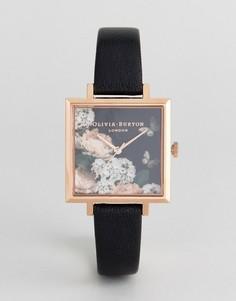 Часы с черным кожаным ремешком и циферблатом с цветочным принтом Olivia Burton OB16WG27 - Черный
