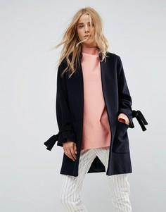 Пальто из смешанной шерсти с завязками на рукавах Helene Berman - Темно-синий