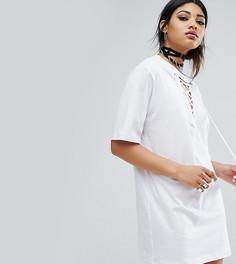 Свободное платье-футболка со шнуровкой Bones - Белый