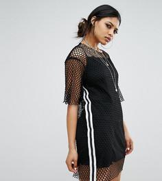 Свободное платье-футболка в крупную сеточку со спортивной отделкой Bones - Черный