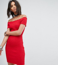 Платье с открытыми плечами и сборками Rokoko - Красный