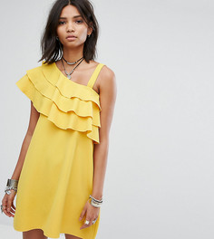 Платье на одно плечо с оборками Rokoko - Желтый