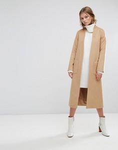 Длинное пальто-накидка с добавлением шерсти Helene Berman - Коричневый