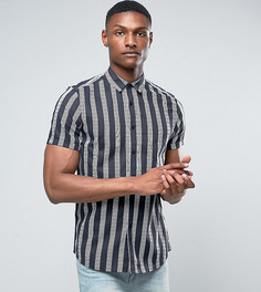 Черная рубашка из вискозы в полоску ASOS TALL - Черный