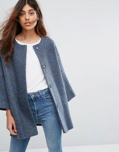 Вязаное пальто-кимоно с добавлением шерсти Helene Berman - Синий