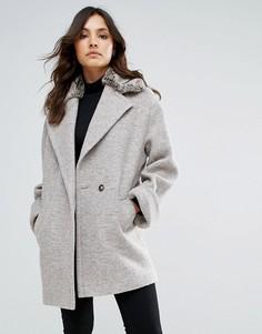 Пальто на основе шерсти с воротником из искусственного меха Helene Berman - Серый