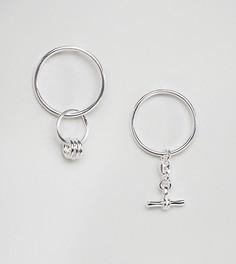 Серебряные непарные серьги-кольца ASOS - Мульти