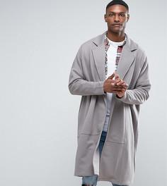 Длинная оversize-куртка из трикотажа ASOS TALL - Серый